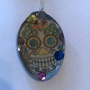 Sugar skull Day of the Dead Spoon Pendant